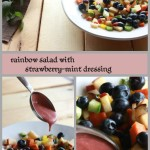 Tasty summer fruit & veggie salad for kids with strawberry-mint dressing!