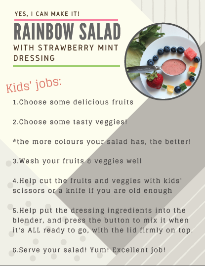 Printable guide for kids in the kitchen making rainbow salad