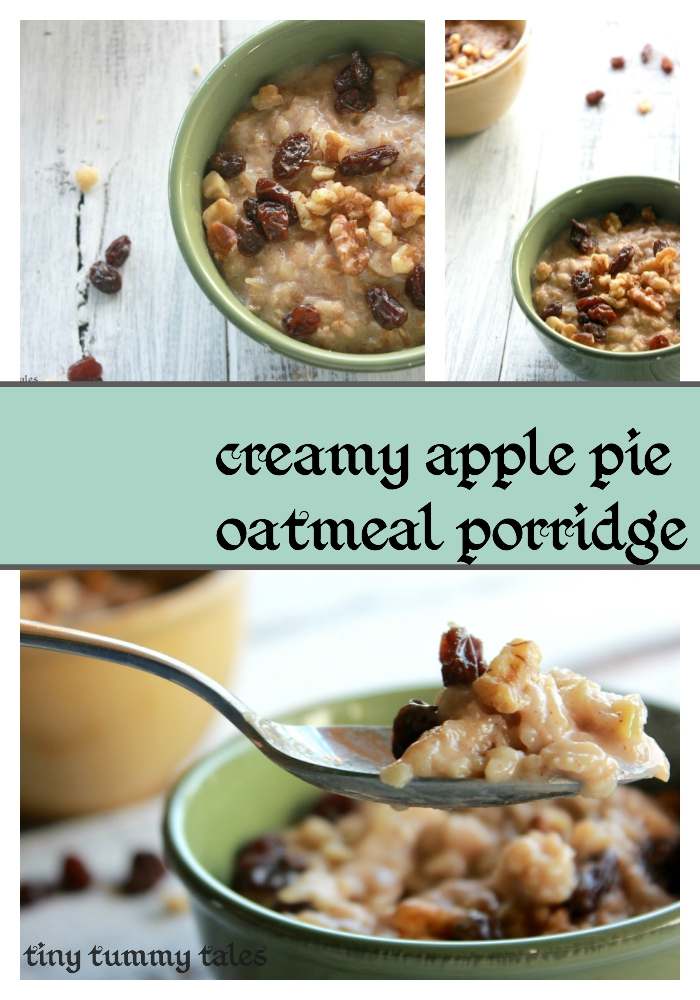 Creamy Apple Pie Oatmeal Porridge Healthy Kids Breakfast Recipe