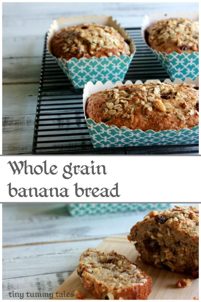 Delicious, soft whole grain banana bread