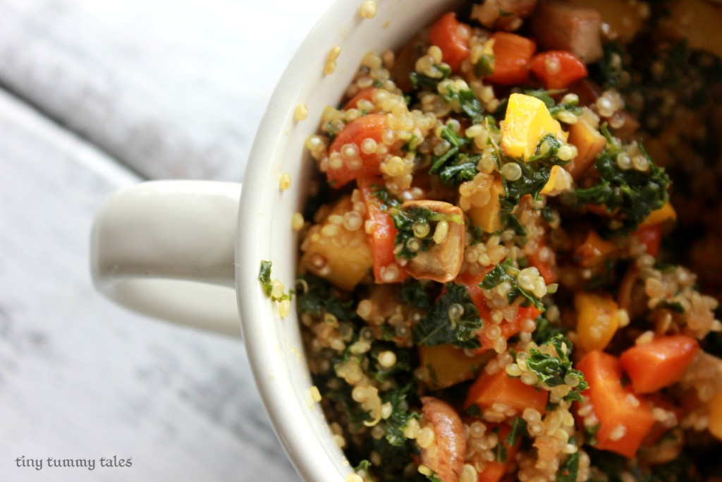 delicious quinoa bowl with maple glazed roasted veggies!