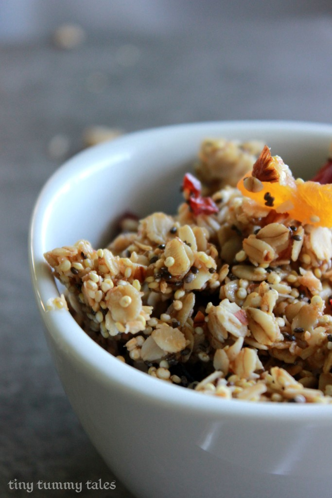 Delicious quinoa granola- gluten free, dairy free, nut free, refined sugar free!