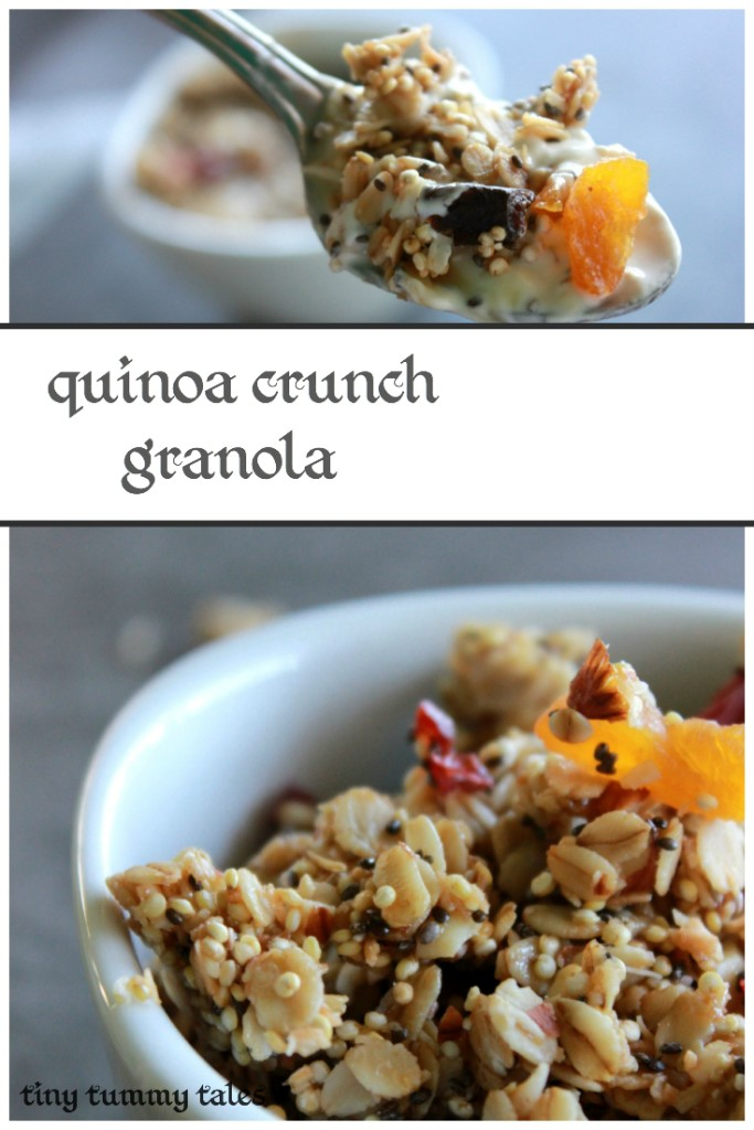 Delicious quinoa granola- gluten free, dairy free, nut free, refined sugar free! Healthy snack for kids!