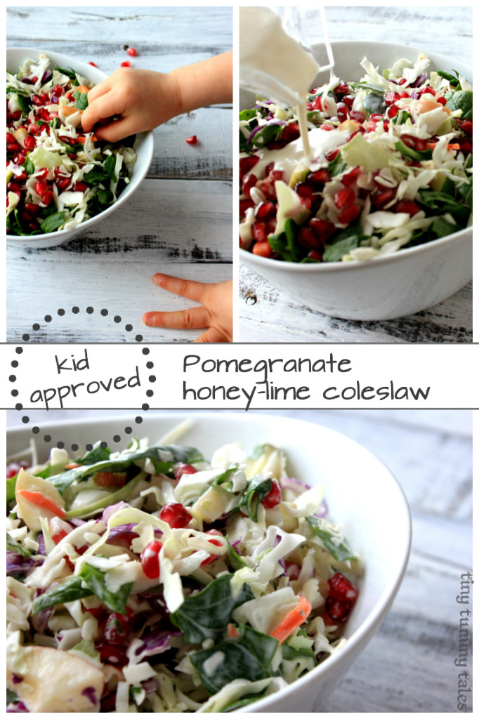 Quick & delicious kid approved coleslaw salad, great for the whole family! This has a yummy honey-lime, greek yogurt dressing. Healthy kids food!