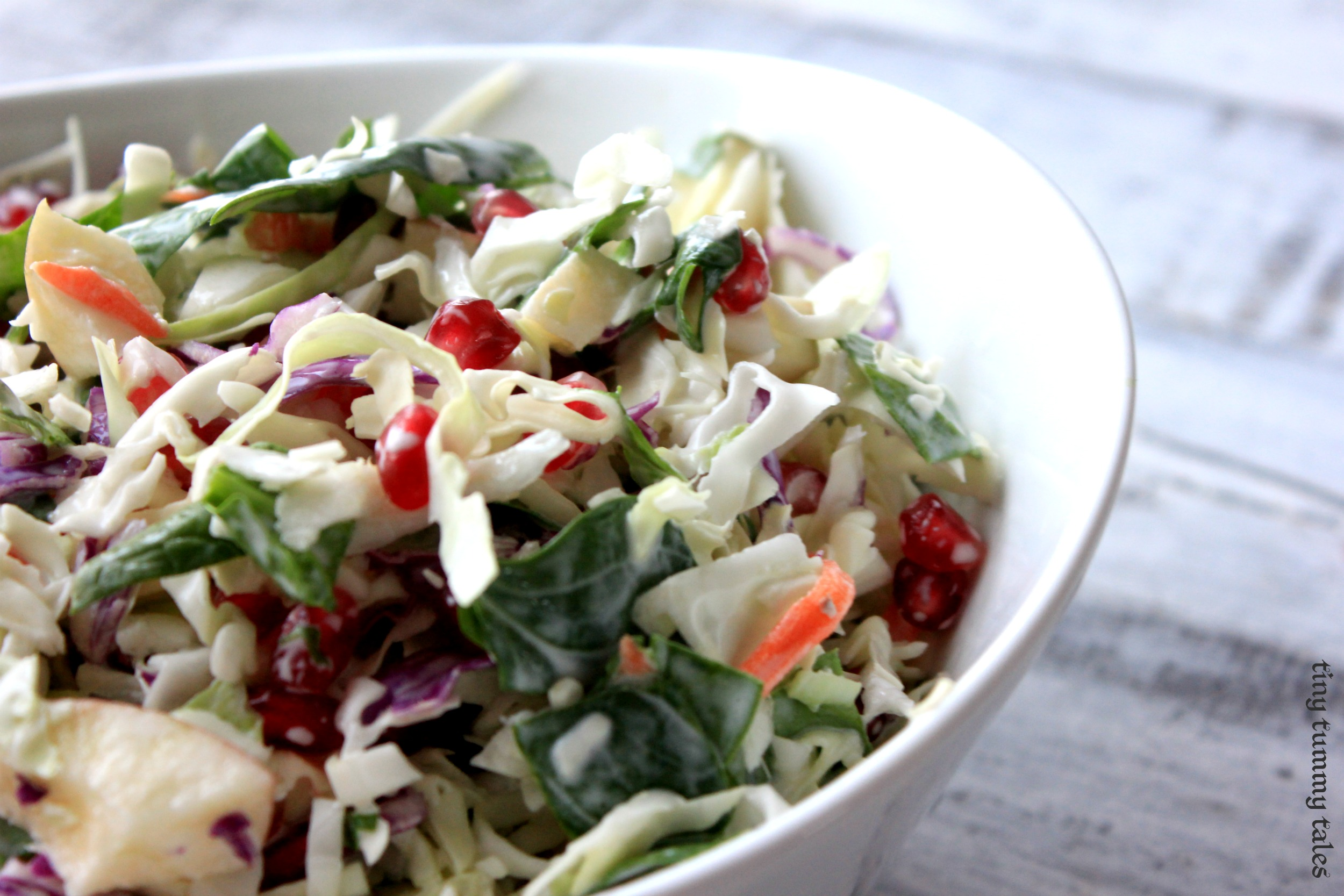 Pomegranate honey-lime coleslaw (Kid approved!)