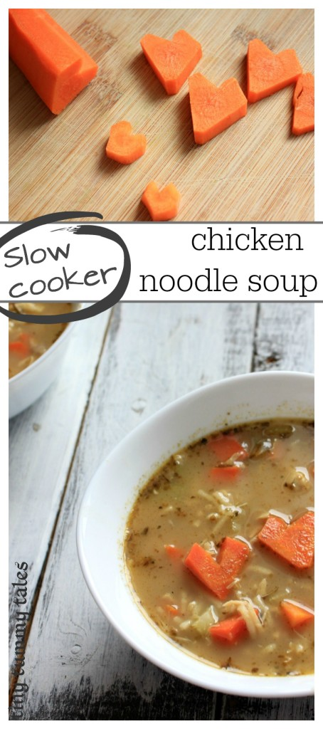 Quick and healthy slow cooker chicken noodle soup. Great healthy kids' meal idea recipe! Uses spaghetti for the noodles!