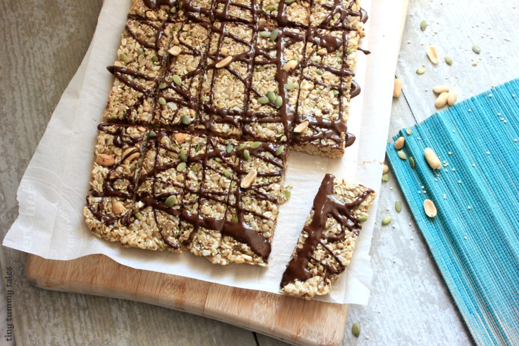 Whole grain + quinoa + flax stovetop granola bar recipe! Great for a healthy kids' snack!