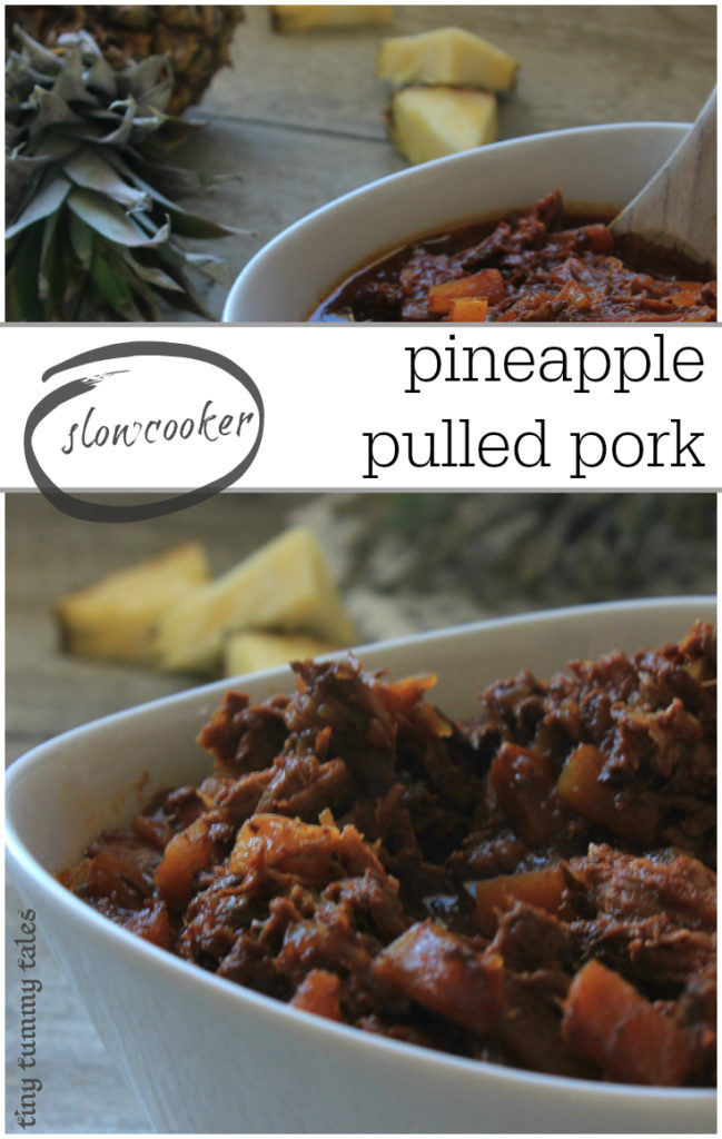 Quick and delicious slow cooker pineapple pulled pork- awesome recipe for healthy kids! Just set it to go in 10 minutes in the morning, and let it cook all day!
