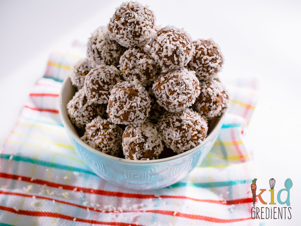 Seedy coconut bliss balls- delicious sweet treat for a healthy lunchbox!