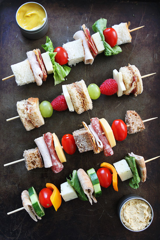Sandwich on a stick- fun and easy idea for kids' healthy lunch!