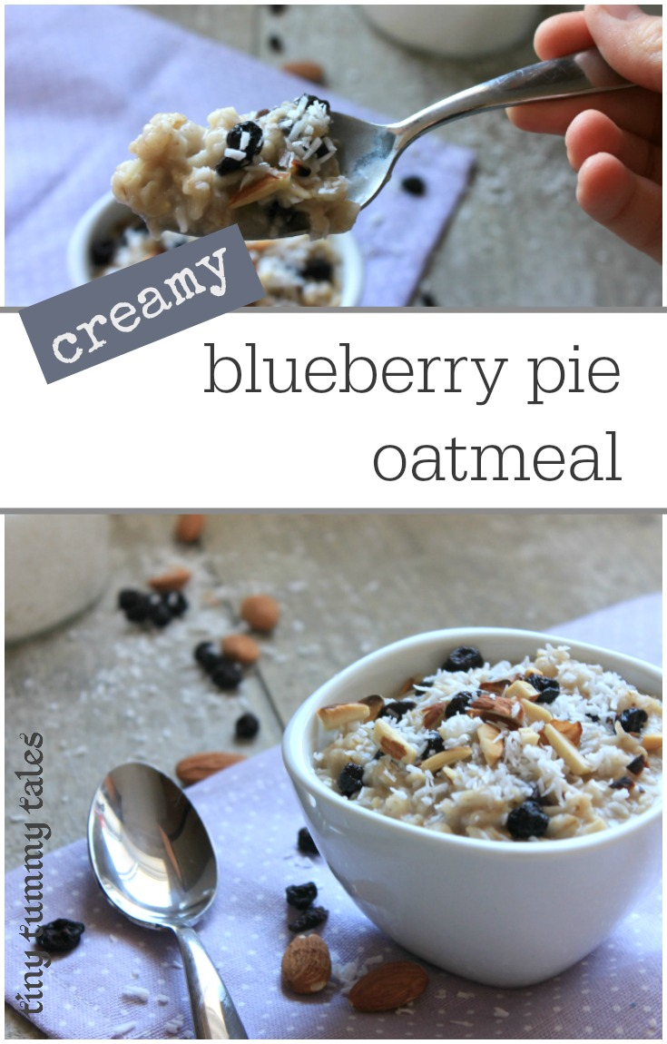 Deliciously creamy blueberry pie oatmeal. This kid loved breakfast is a great healthy alternative to cold cereal and is quick & easy! Healthy breakfast for kids :)