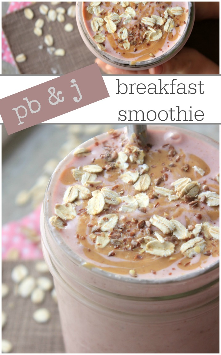 Delicious peanut butter and jam breakfast smoothie for kids! Healthy kids food breakfast or snack recipe