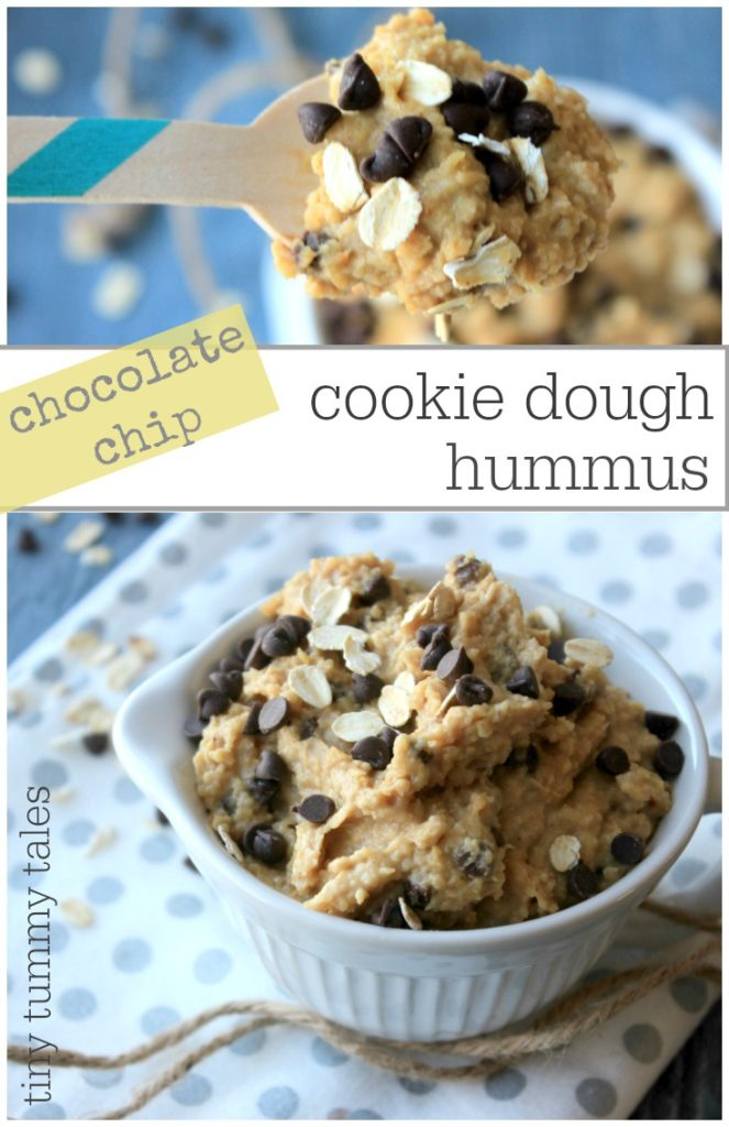 Quick and easy chocolate chip cookie dough hummus kids snack. A delicious, more healthy snack for kids!