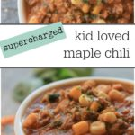 kid loved maple chili with white beans, lentils, corn, quinoa, and veggies