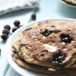 Delicious blueberry banana pancakes. These are a filling, healthy breakfast for kids & have gluten-free options!